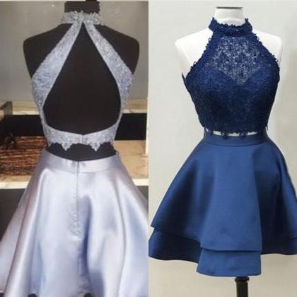 2 Pieces Navy Blue Satin Homecoming..