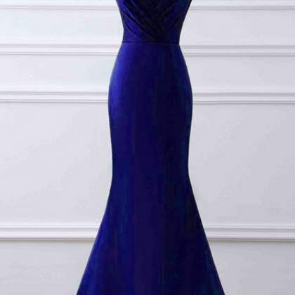 V Neck Mermaid Satin Prom Dress Roy..