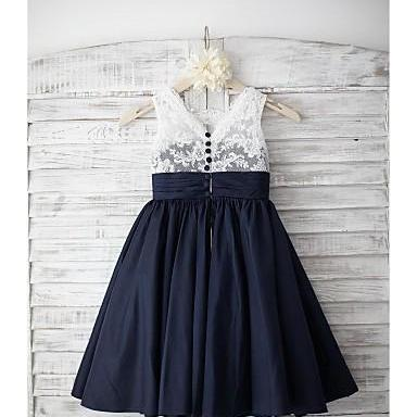 Navy Blue Satin Lace Flower Girl Dr..