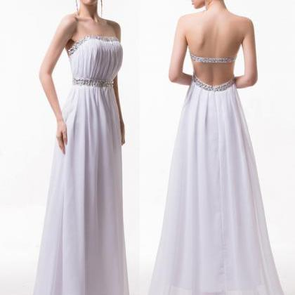 Backless Long Chiffon White Prom Dr..