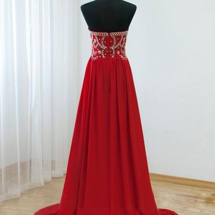 Strapless Long Chiffon red Prom Dre..