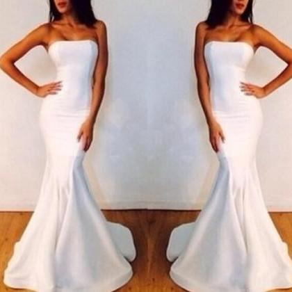 Mermaid Satin White Evening Dresses..