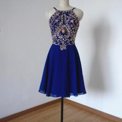 Above Knee Royal Blue Chiffon Prom ..