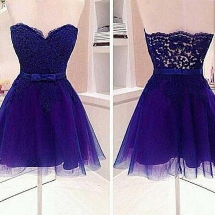 Strapless Short Tulle Purple Homeco..