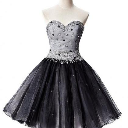 Sweetheart Neck Short Tulle Black H..