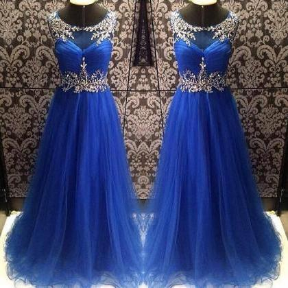 Scoop Neck A-line Tulle Blue Prom D..