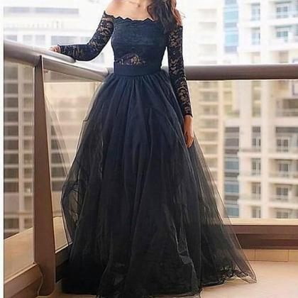 Off the Shoulder Long Sleeve Prom D..