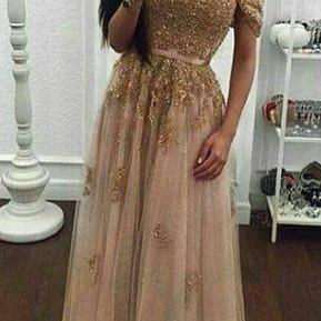 Off Shoulder tull Prom Dresses, Lace Appliques Women Dresses, Beaded Women Party Dresses 2017