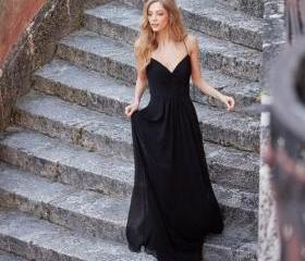 Black Long Chiffon P..
