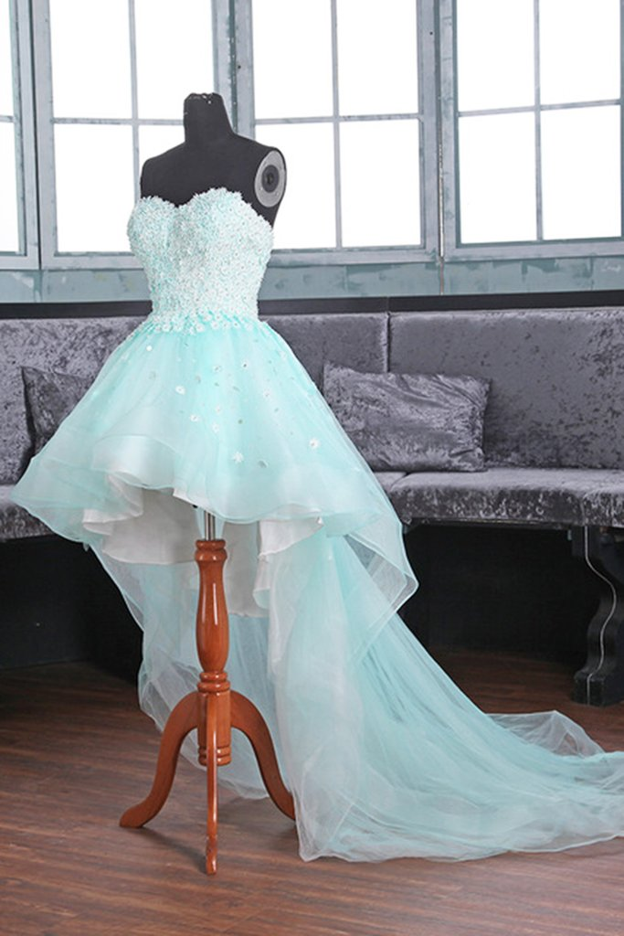 Sweetheart Neck A-line Organza Prom Dreses High Low women Prom Dresses