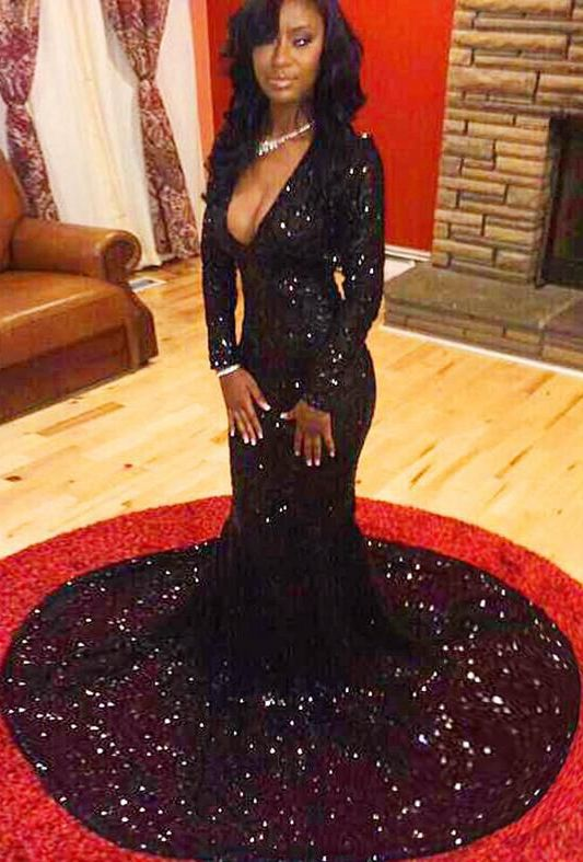 Mermaid Sequin Lace Prom Dresses Long Sleeves Black Prom Dresses On