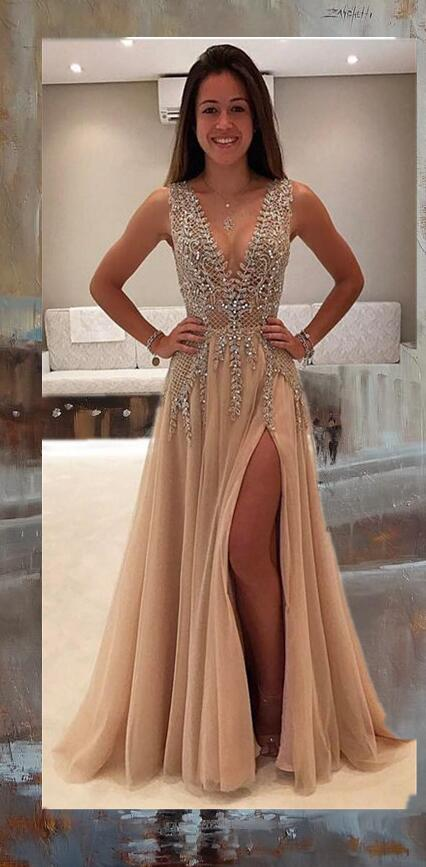 Deep V Neck Tulle Prom Dress Beading Long Women Party Dress