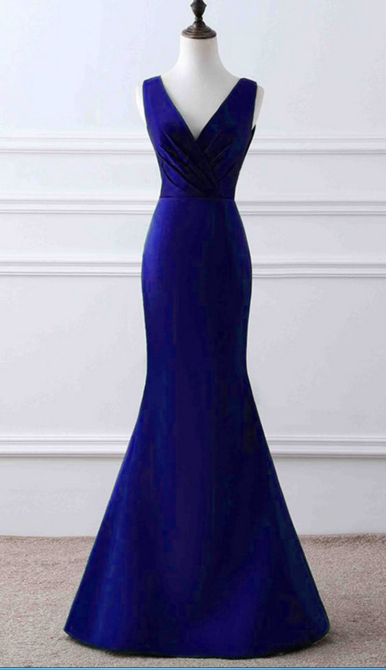 V Neck Mermaid Satin Prom Dress Royal Blue Long Women Dress AF062785
