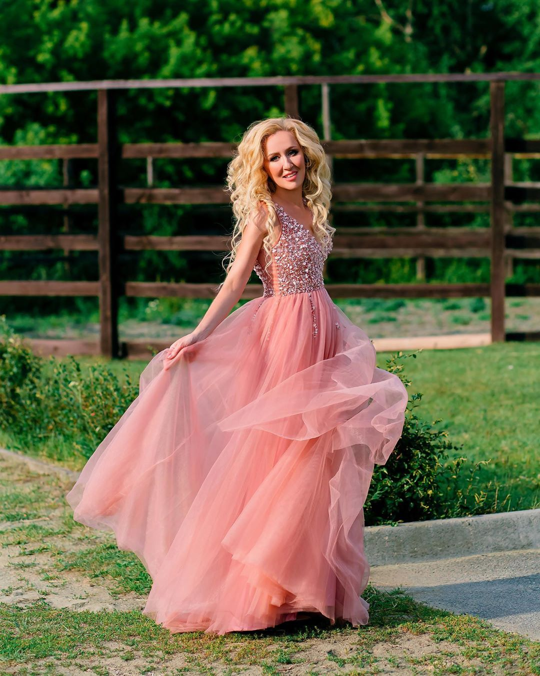 Beading Prom Dresses V Neck Pink High Split Tulle Sleeveless Formal Evening Gowns Vestido A-line Lace Up Robe De Soiree