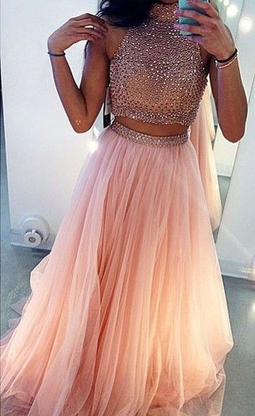 089c3e75cd85 Light Pink long tulle Prom Dresses 2 Pieces Tulle Beaded Party Dresses