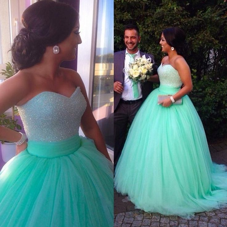81d0f6c8ef1 Ball Gown Green Tulle Prom Dresses Strapless Beaded Women Party Dresses