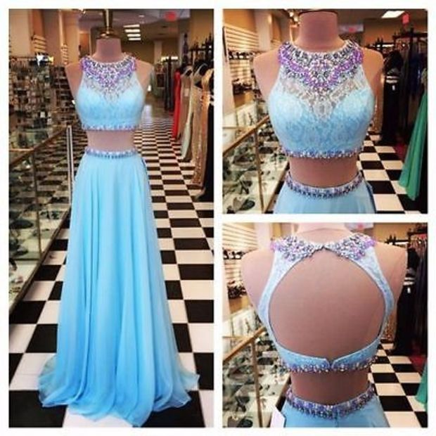 d63167ea14a AF0441 Women s Long Chiffon Prom Dresses 2 Pieces Beaded Women Dress ...
