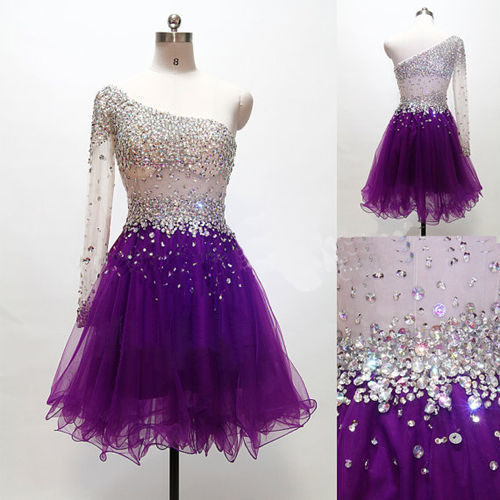 4b614193a91 Above Knee Tulle Purple Homecoming Dresses One Shoulder Long Sleeves Beaded  Party Dress