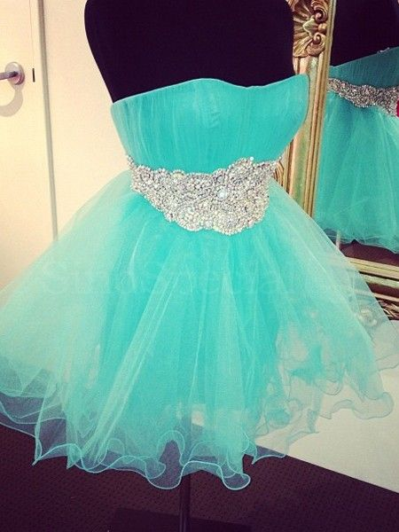 Blue Tulle Homecoming Dresses with Crystals Mini Party Dress