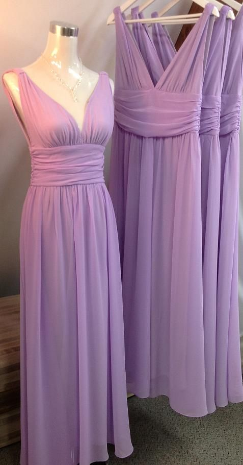 196dd179e1 Long Purple Chiffon Bridesmaid Dresses V-neck Pleat Women Dress on ...