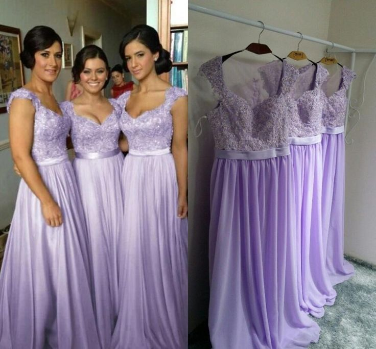 purchase newest moderate cost search for best Long Chiffon Purple Bridesmaid Dresses With Appliques Floor Length Dresses