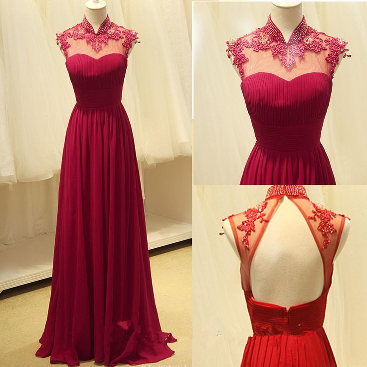 625be0a26a Cap Sleeve Long Chiffon Appliques Prom Dresses Floor Length Party Dresses