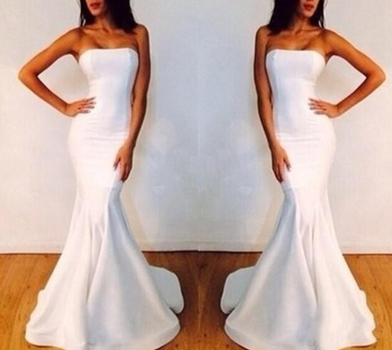 Mermaid Satin White Evening Dresses Strapless Floor Length Party Dresses Formal Dress