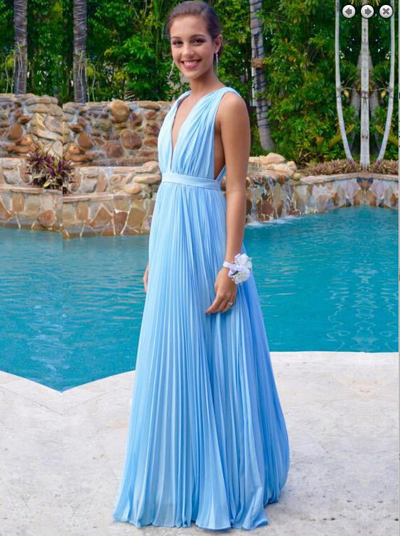 abc31688ae7 Light blue Long Chiffon Prom Dresses V-neck Floor Length Party Dresses