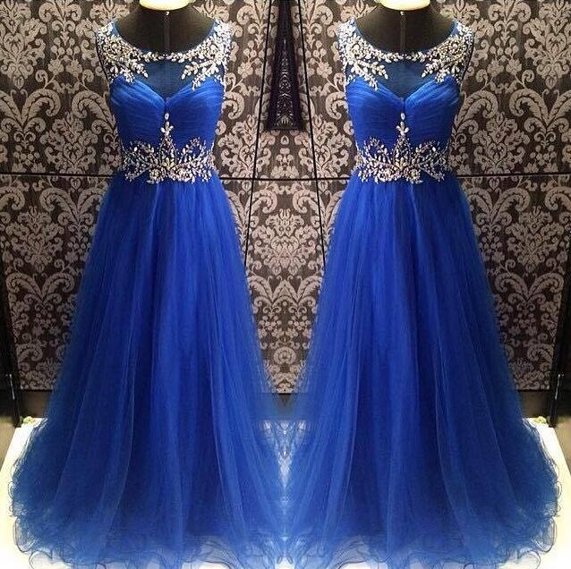 Scoop Neck A-line Tulle Blue Prom Dresses Crystals Party Dresses