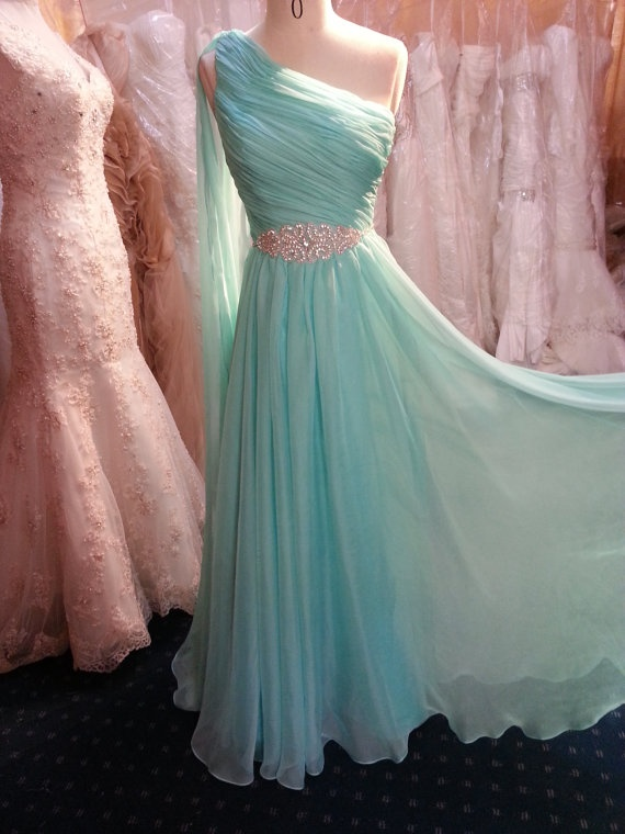Long Chiffon Prom Dresses One Shoulder Pleat Floor Length Party Dresses with Crystals
