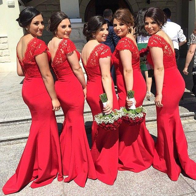 835109ade76 Mermaid Long Red Chiffon Bridesmaid Dresses Lace Appliques on Luulla