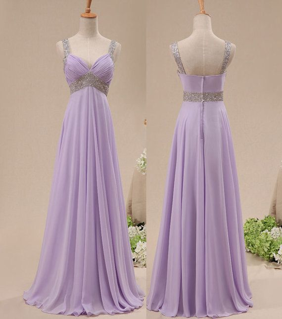 Light Purple Chiffon Prom Dresses Crystals Women Party Dresses on Luulla a689553753