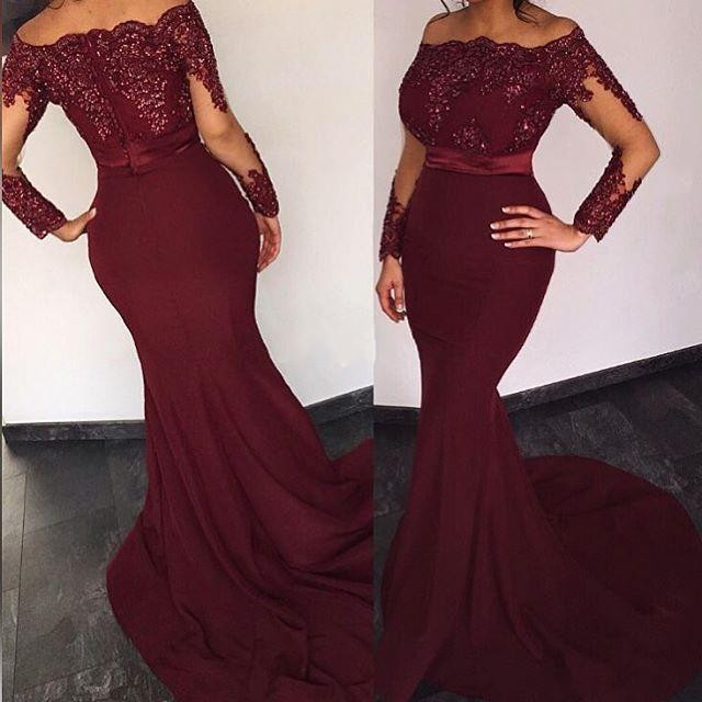 d11b57e886b Full Sleeves Mermaid Chiffon Prom Dresses Lace Appliques Beaded Party  Dresses Custom Made Women Dresses