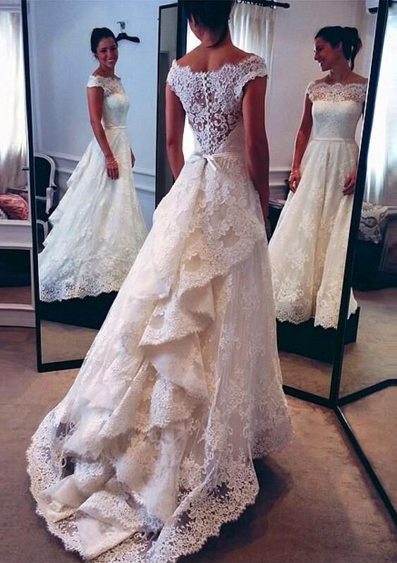 White Lace Bridal Gowns Formal Women Wedding Dresses Floor Length 2017