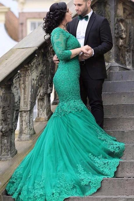 Mermaid Green Tulle Prom Dresses Half Sleeves lace Women Party dresses