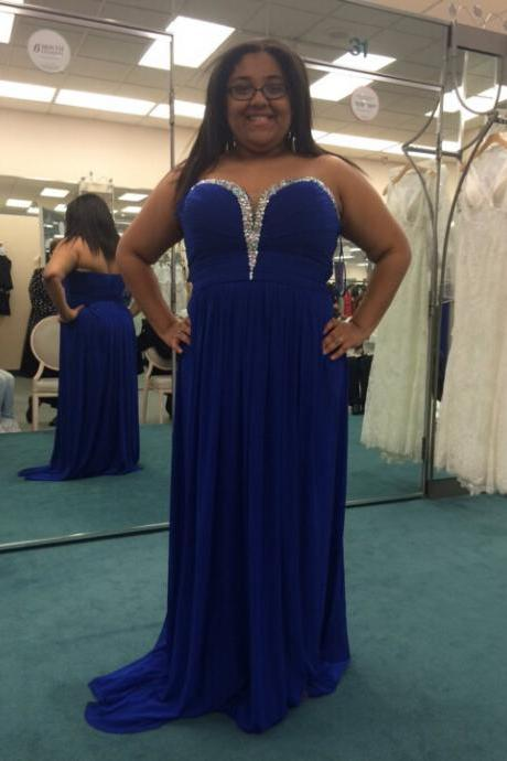 Plus Size Royal Blue Chiffon Prom Dresses Sweetheart Neck Crystals Women Dresses