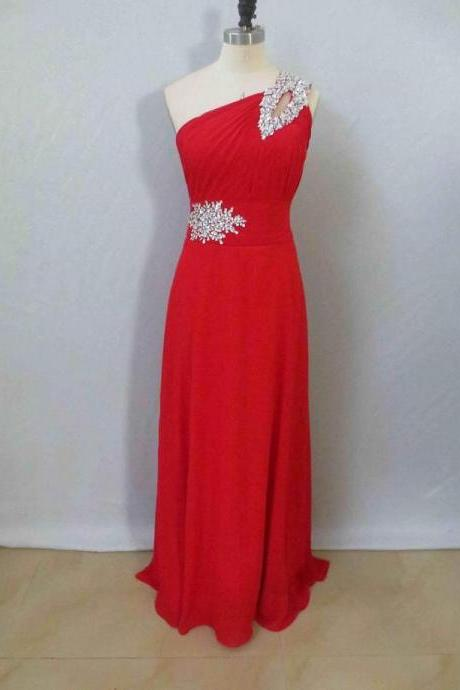 One Shoulder Red Chiffon Prom Dresses Crystals Floor Length Women Dresses