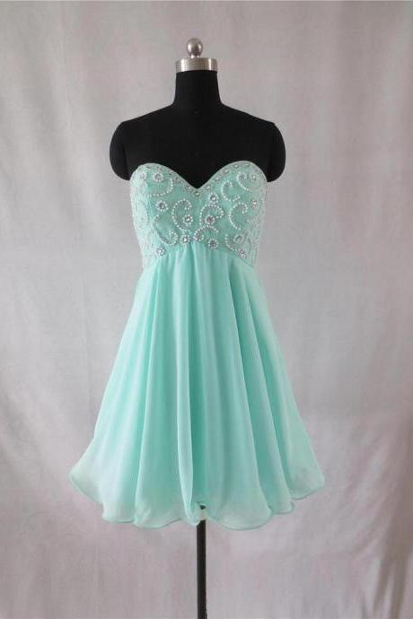 Knee Length Chiffon Prom Dresses Sweetheart Beaded Women Party Dresses