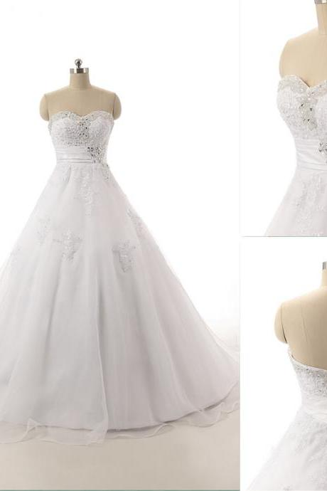 Sweetheart Neck A-line Tulle Wedding Dresses Crystals Floor Length Women Bridal Gown