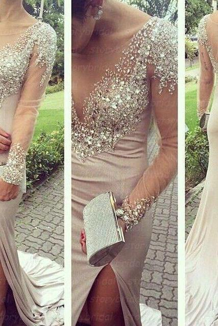 Scoop Neck Sheath Chiffon Prom Dresses Crystals Floor Length Women Dresses