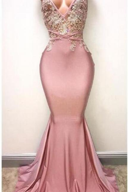 V-neck Mermaid Chiffon Prom Dresses Lace Beaded Floor Length Women Dresses