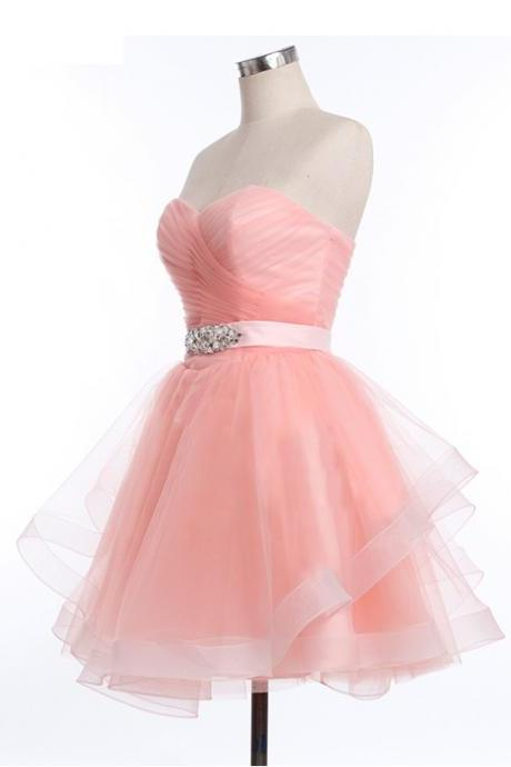 Sweetheart Neck Short Tulle Prom Dresses Pleat Beaded Women Party Dresses