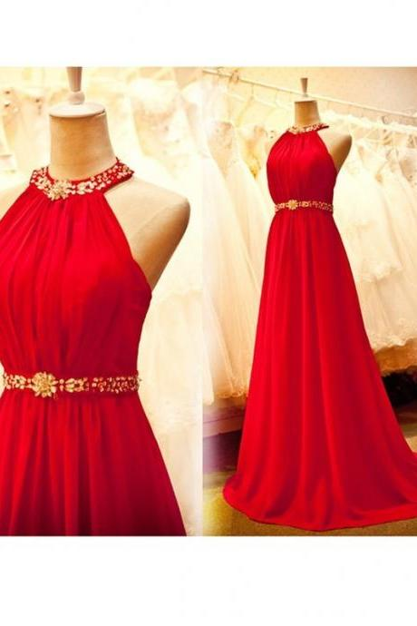 Long Red Chiffon Prom Dresses, Halter Neck Crystals Women Prom Dresses