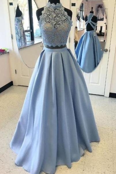 Two Pieces Long Satin Prom Dresses High Neck Lace Women Dresses