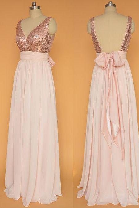 Open Back Pink Long Chiffon Prom Dresses Sequin Lace Long Women Evening Dresses