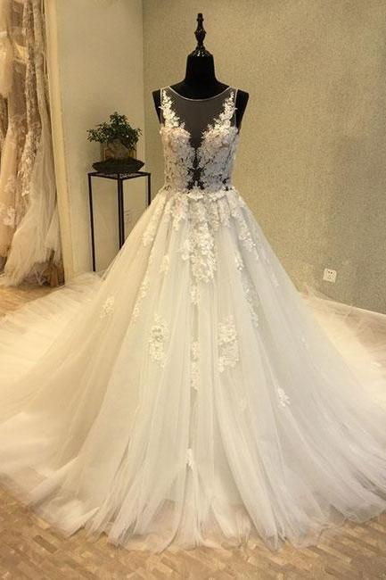 Scoop Neck Ivory A-line Tulle Lace Wedding Dresses