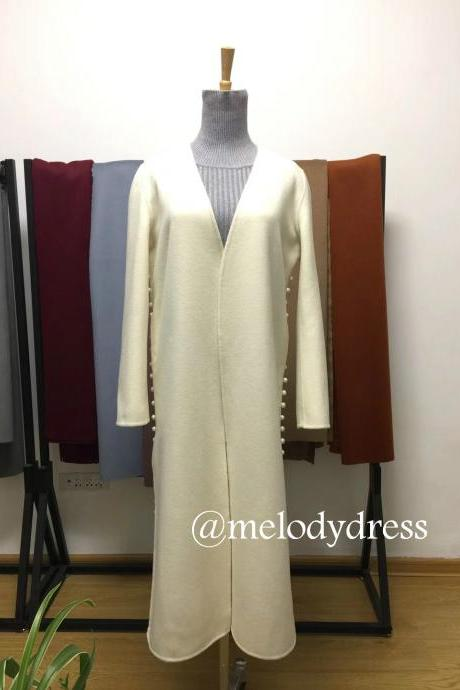 Women's long cashmere outwear with pearl tailor made coat