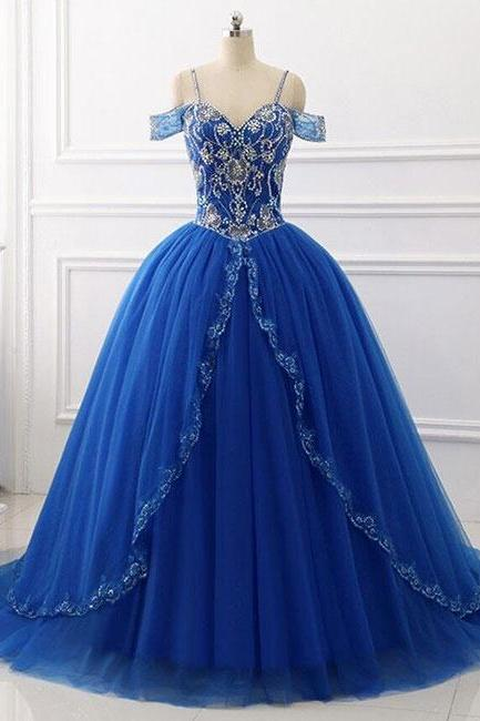 Cold-Shoulder Beaded Princess Ball Gown, Prom Dress, Evening Dress Featuring Lace-Up Back