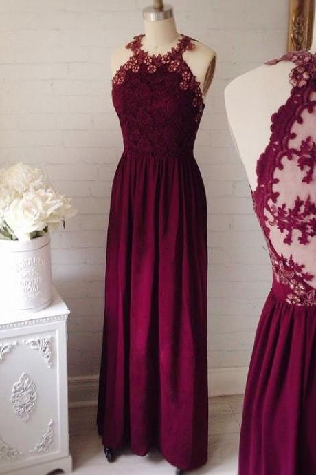 Halter Floral Lace Appliqués A-line Chiffon Floor-Length Prom Dress, Formal Dress, Evening Dress Featuring Keyhole Back