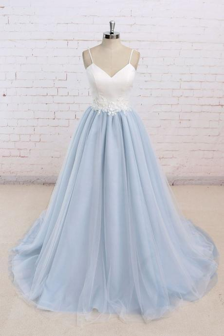 Spaghetti Strap A-line Tulle Prom Dresses Lace Women Party Dresses